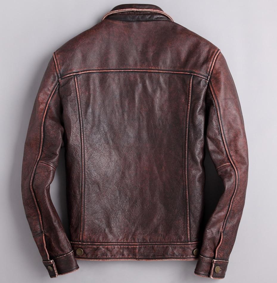 HTB16EPlRgHqK1RjSZFPq6AwapXay mens cowhide jacket Vintage Men 100% genuine leather Jackets Cow Jackets Zipper Stand Streetwear Leisure cool warm coat 18687-5