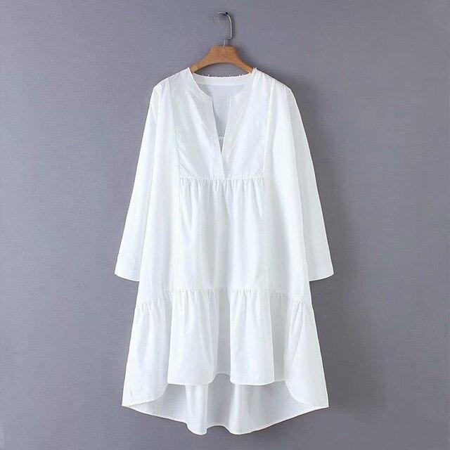 2019 nouvelles femmes mode col en v solide couleur irrégulière ourlet lâche une ligne robe femme douce à manches longues décontracté blanc stockout