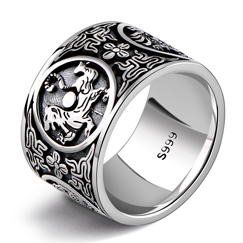 999 Sterling Silver Retro Men Male the God of the Quartet Ring Thai Silver Fine Jewelry Gift 1.4cm Wide Finger Ring CH045115 999 sterling silver retro men male the god of the quartet ring thai silver fine jewelry gift 1 4cm wide finger ring ch045115