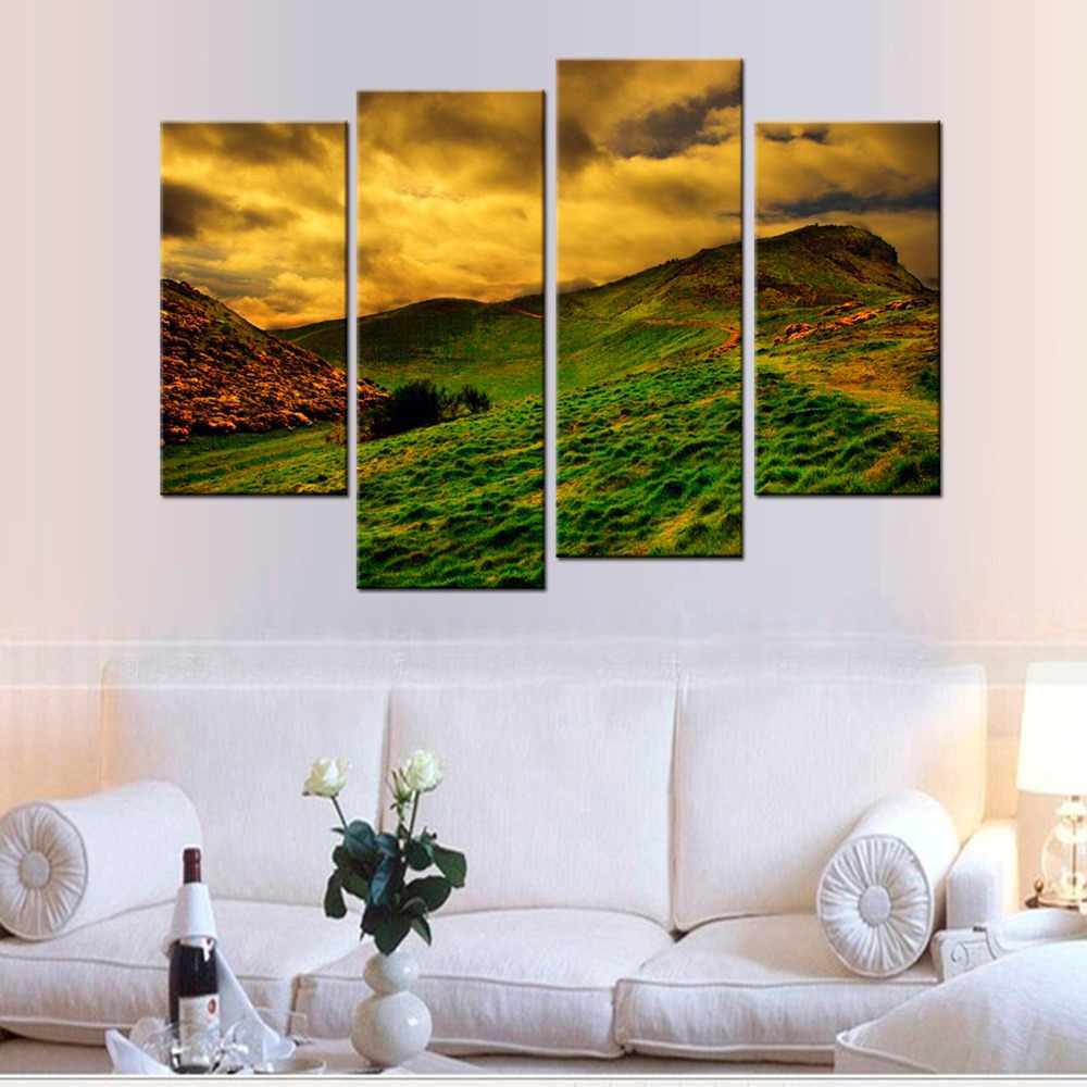 4 Pcs/Set  Dusk Sunset Grassland Plains HD Wall Poster Modern Home Decorative Pictures Canvas Painting For Living Room