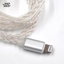 Плотным верхним ворсом KZ с серебряным покрытием Обновите проводные наушники провода для разъем lightning для iphone для ZS10 ZSN Pro ZS10 Pro AS16 ZST ZS6