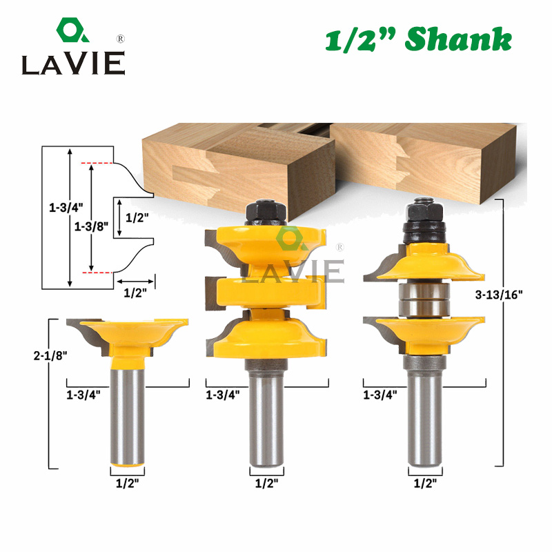 Buy Lavie 3pcs 1 2 Shank Entry Interior Tenon Door Router Bit Set Ogee