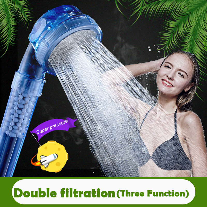 Pressure Boost Shower Nozzle ABS Plastic Water Saving Handheld Shower Head With Ion filter stones Three Function Showerhead