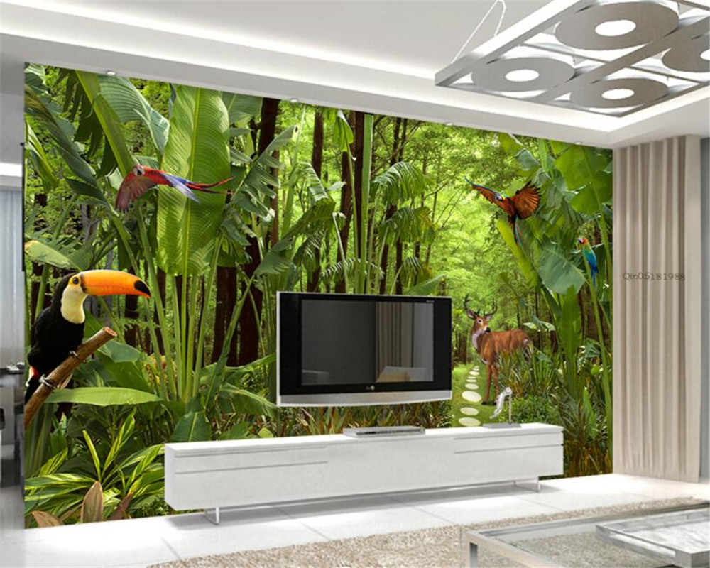 Beibehang 3D wall paper green tropical rain forest plant photo wallpaper living room bedroom TV background wallpaper behang tropical rain forest pastoral plant forest pattern wallpaper living room sofa television background wallpaper decoration