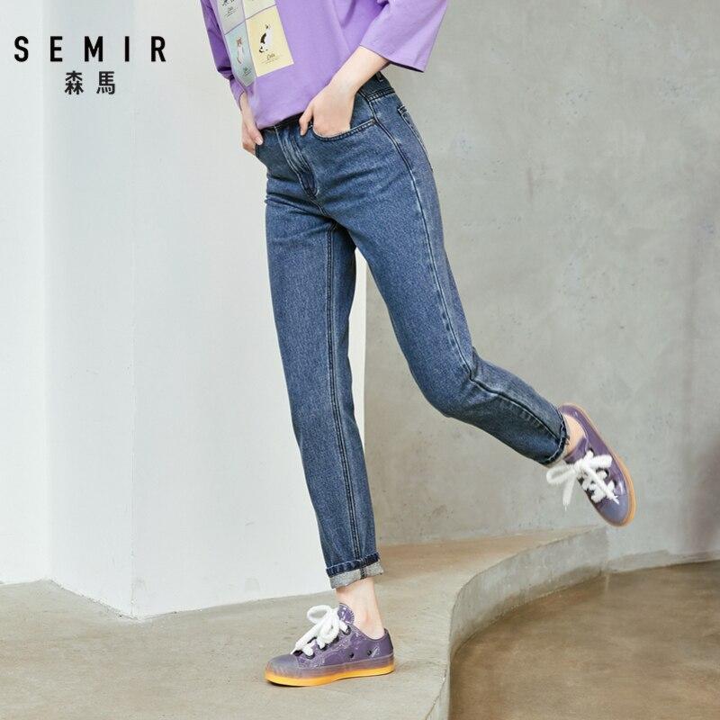 SEMIR 2019 Autumn New Denim Trousers Women Middle Waist Cotton Boyfriend Pants Cotton Embroidery Thin Female Student Pants