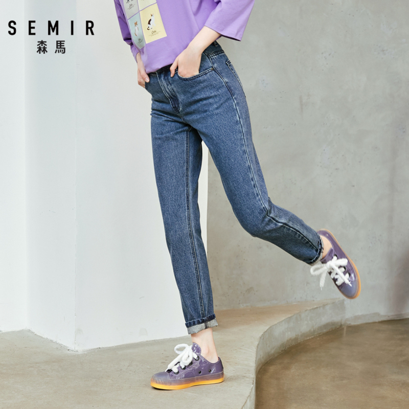 SEMIR 2019 Autumn New Denim Trousers Women Middle Waist Cotton Jeans Cotton Thin Female Pants