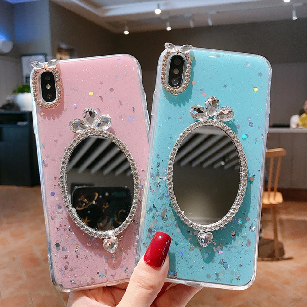 TPU Cover Makeup Mirror Phone Case For iphone 8 Plus X XR XS Xs Max 7 Plus Cases For iphone 6 6S Cover Fashion Glitter Cute Case in Fitted Cases from Cellphones Telecommunications