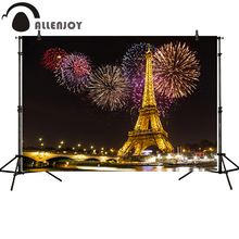 Allenjoy Photography backdrops Fireworks Golden Paris Tower background for photo studio and decoration