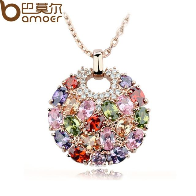 Multicolor Crystal Round Necklaces & Pendants for Women  Gold Plated Swiss CZ Zircon Women Clothing Accessories JIN004