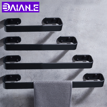 Towel Bar Space Aluminum Wall Mounted Bathroom Towel Rack Hanging Holder Creative Toilet Towel Holder Black Bathroom Accessories fashion space aluminium towel rack towel bar space aluminum bathroom accessories