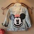 Niños ropa muchachas de la capa 2016 del otoño del resorte de moda chaquetas de manga larga del bebé de mickey minnie niños niñas denim jean prendas de abrigo