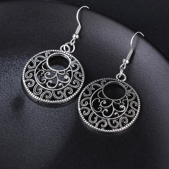 RscvonM New Boho Vintage Tibetan Silver Round Ear Hook Tribal Earrings Retro Big Flower Long Hanging Earrings Statement Jewelry 5