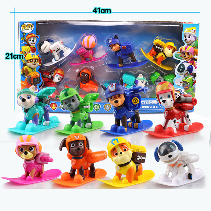 8pcs/lot 8 Style For Pawed Patrolling Bjd Deformable Dog Model Anime Kids Toys Puppy Toy With Skateboard Action Figure Gh922 Great Varieties Home