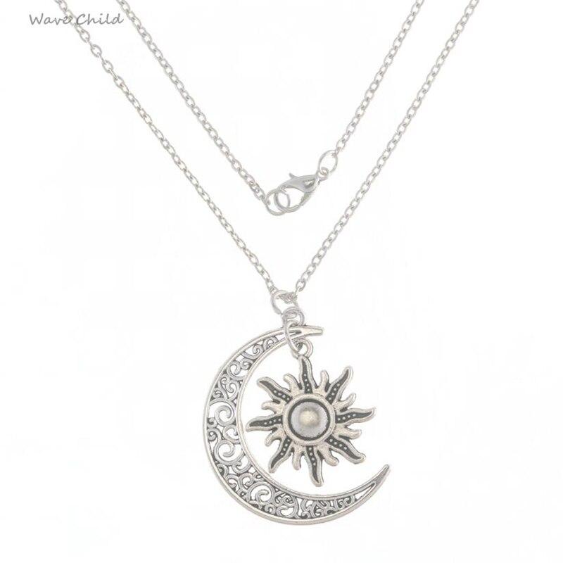 Retro Silver Sun Knot Earth Mother Goddess Moon Charm Pendans