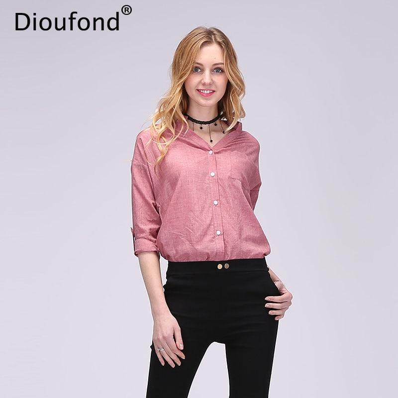 Dioufond Ljeto V-izrez Pamuk Tanke Žene Košulje Tri Četvrt Ženski - Ženska odjeća - Foto 1