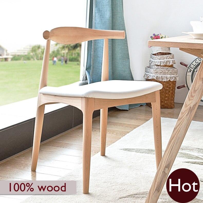 Ханс Вегнер стул, 100% твердое дерево обеденный стул, Европейский Бук материалы + Искусственная кожа, чистый ручной работы, мебель из цельного