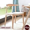 Ханс Вегнер стул, 100% твердое дерево обеденный стул, Европейский бук материалы + ИСКУССТВЕННАЯ кожа, чисто Ручной Работы твердых деревянная мебель, стул барный