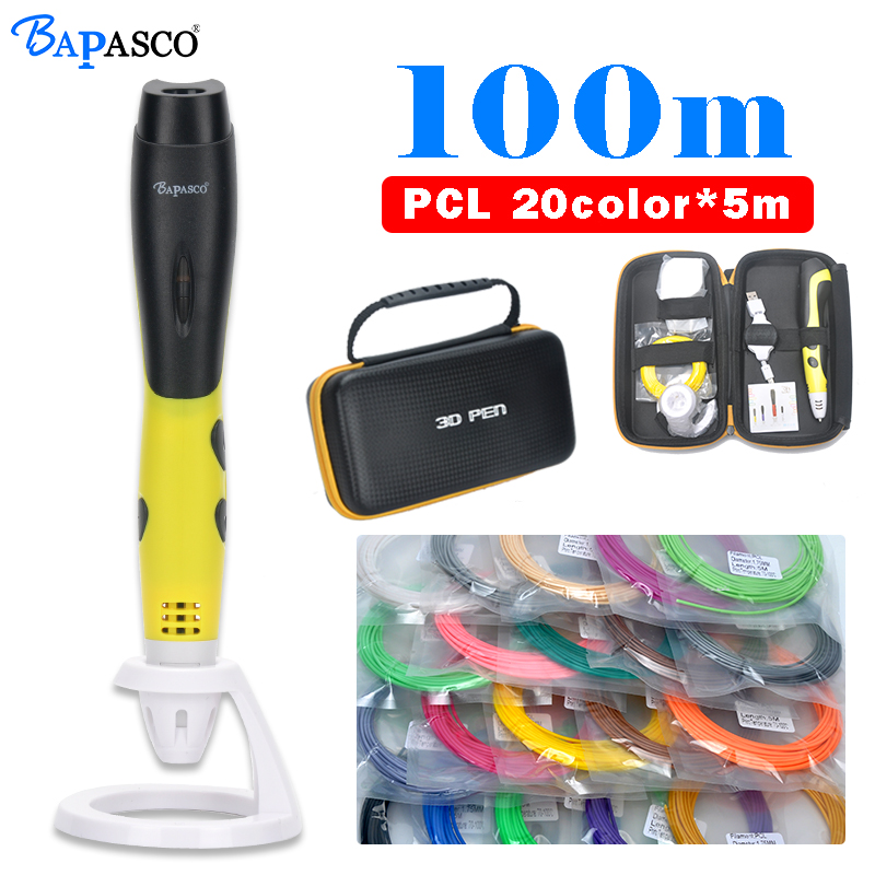 BAPASCO 3D pen with built in battery,5V 2A USB adapter,low temperature 3D printing pen,safe for kids,creative education gift