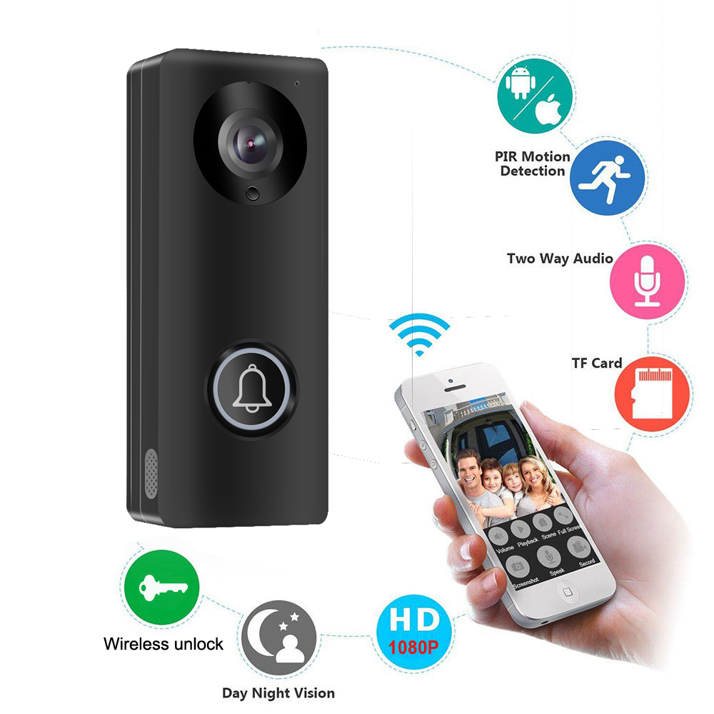 1080P Wireless WiFi Video Doorbell Door Phone Intercom Camera PIR Motion Detection Alarm Remote unlock