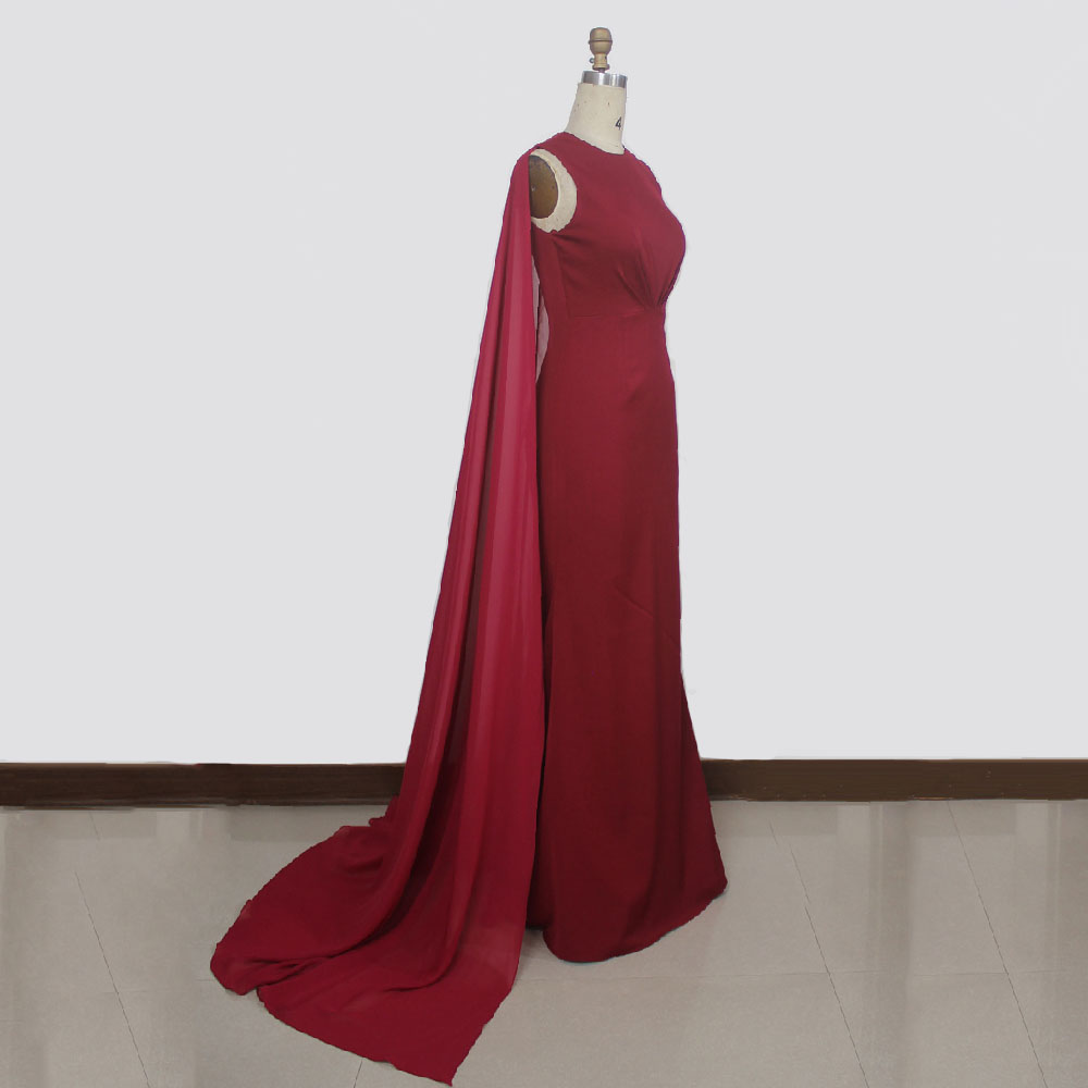 2017 Fashion red evening dress O neckline A line floor length long chiffon evening gown with wraps bridal party dresses