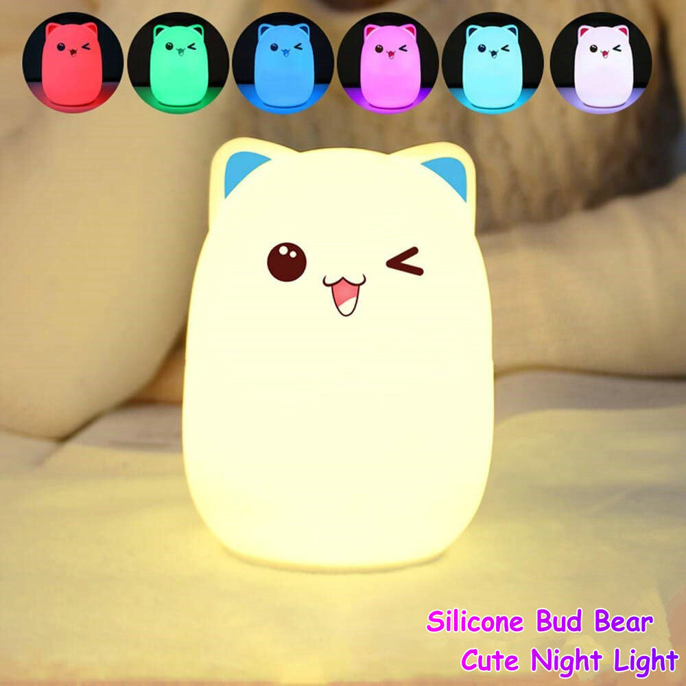 Kawaii Rabbit Panda Chicken Bear Silicone Baby Nursery LED Desk Lamp Touch Sensor Tap Control Night Table Light USB Rechargeable 7 color changing rabbit led night light silicone touch sensor tap control nightlight remote controller for kids children baby