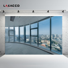 Laeacco Skyscrapers French Window Interior City Scenery Photography Backgrounds Custom Photographic Backdrops For Photo Studio