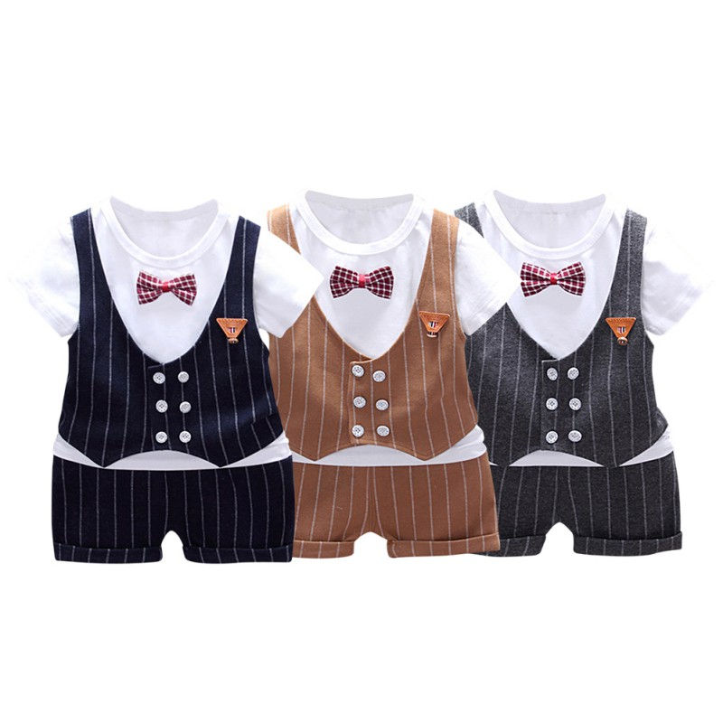 Baby Summer Short Sleeve Suit Cotton Striped Fake Bow-knot T-shirt Tops+Shorts Trousers 2 Pcsset Outfits