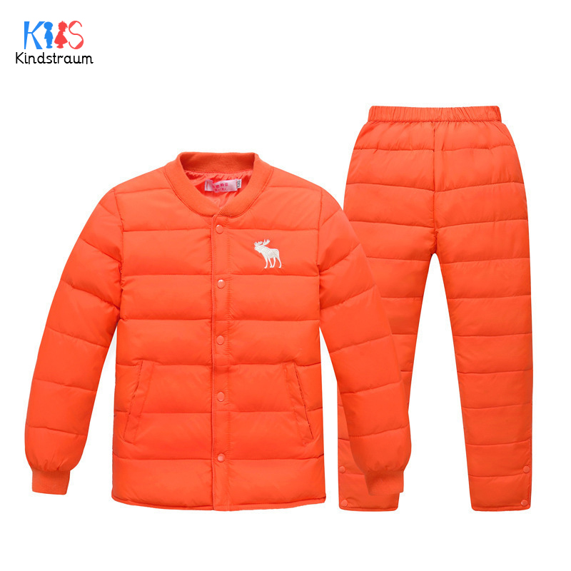 Kindstraum 2018 Children Down Clothing Suits Winter Girls Coat + Pants Super Warm Solid Sets for Boys,RC1667 children sets girls winter sweater coat