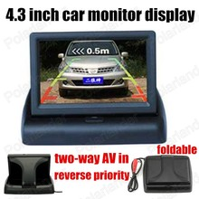 for Camera DVD supports two ways of video input reverse priority 4.3 inch Foldable TFT Color LCD car Monitor display
