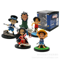 Pack In Box 5pcs/set One Piece Luffy Ace Sabo Boa Hancock Anime Keychain Collectible Action Figure PVC Collection christmas gift