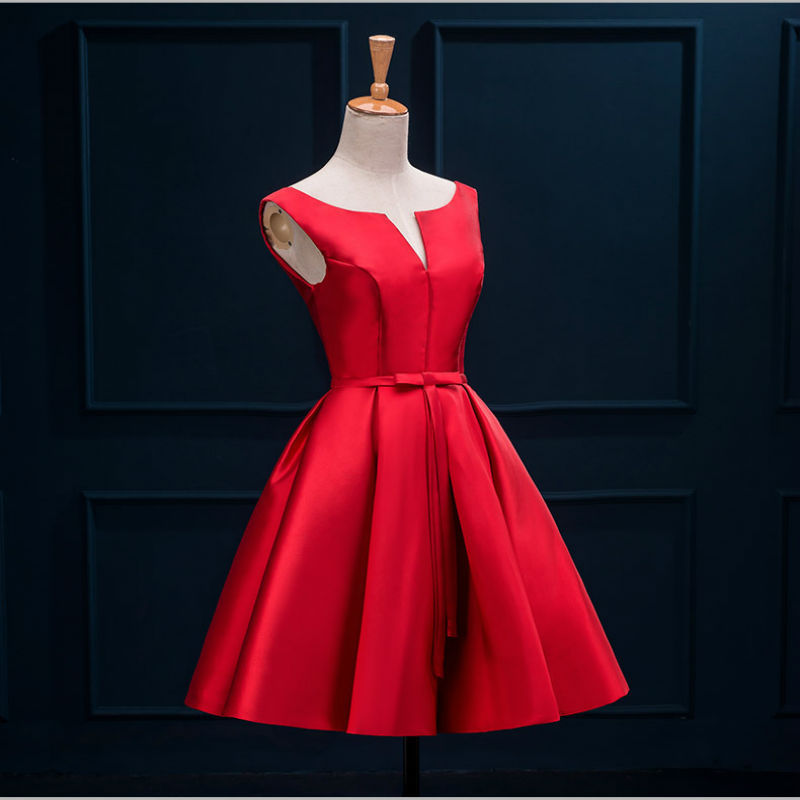 2016 New Arrival Short Designer A Line Stain Red Tail Party Dress Real Photo Free Shipping In Dresses From Weddings Events On