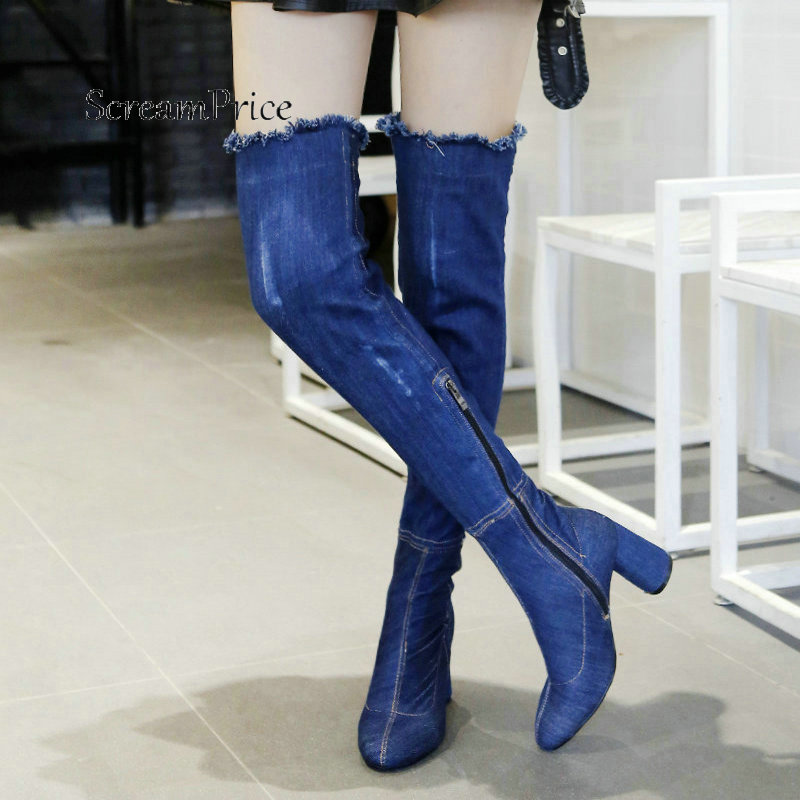 Fashion Denim Comfortable Square Heel With Side Zipper Thigh Boots Keep Warm Round Toe Winter Women Shoes Blue Drak Blue 2018 superstar cow suede mink hair flat with zipper round toe fashion winter boots solid comfortable keep warm snow boots l61