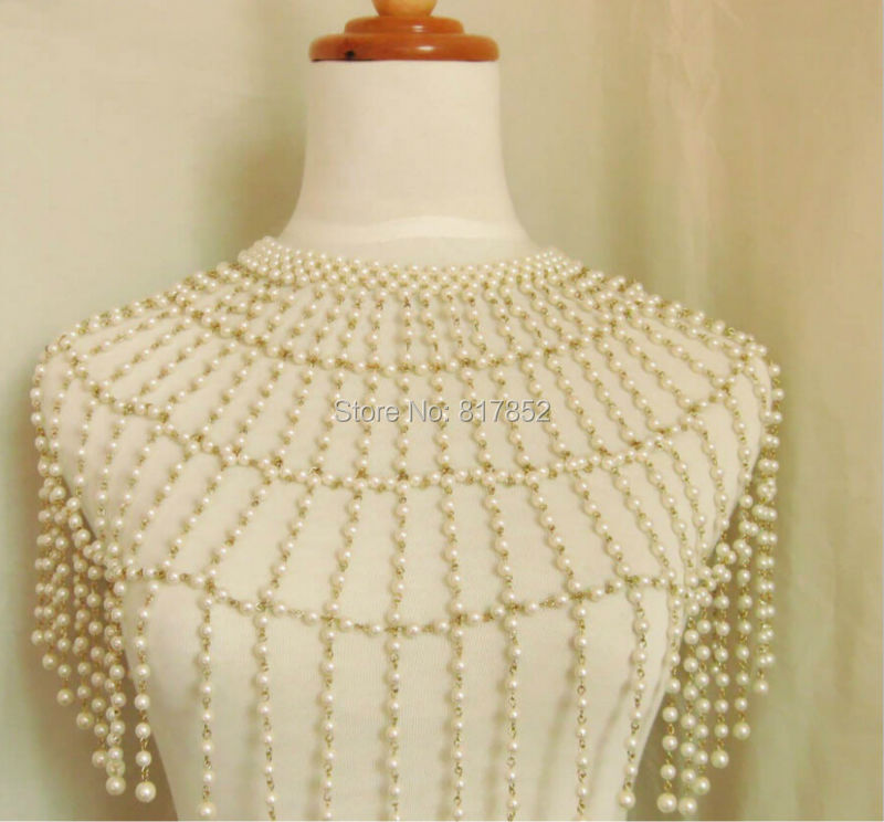 Fashion Style P12 Women Imitation White Pearls Silver Plated Chains Necklace Beads Shoulders Body Jewelry Pearls Jewelry free shipping imitation pearls chain flatback resin material half pearls chain many styles to choose one roll per lot