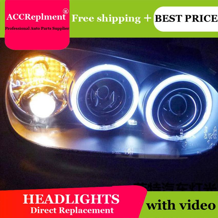 AUTO.PRO for vw golf 4 98 05 headlights Angel Eyes light + xenon lens LED car light H7 h1 led light car styling