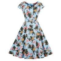 Sisjuly Summer Women Print Plant Dress Female Light Blue Mid Calf V Neck Female Vintage Style
