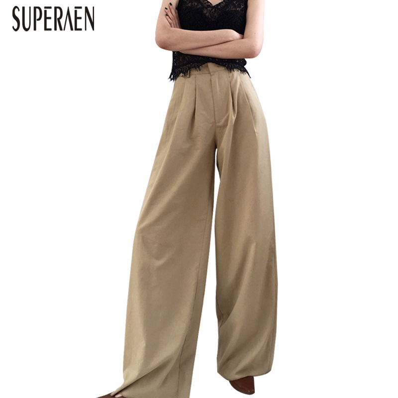 SuperAen Europe Autumn and Spring New Wild 2019 Women   Wide     Leg     Pants   Fashion High Waist Ladies   Pants   Wild Casual   Pants   Female