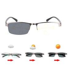 e238e5845 Photochromic + multifocal progressiva óculos de leitura multifoco transição  óculos de sol dos homens hyperopia presbiopia leitor