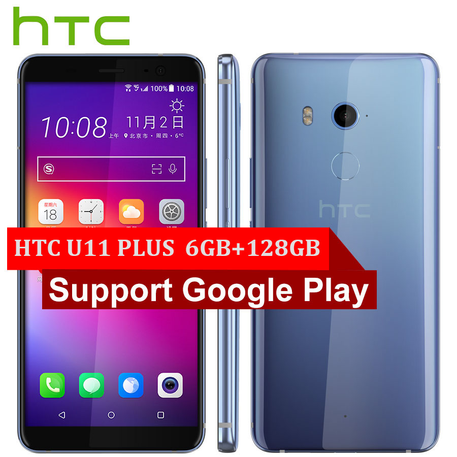 Хит продаж, мобильный телефон htc U11 Plus U11 + 4G LTE, 6 ГБ + 128 Гб, Восьмиядерный процессор Snapdragon 835, 6,0 дюймов, IP68, 1440x2880 P, Android 8,0, смартфон