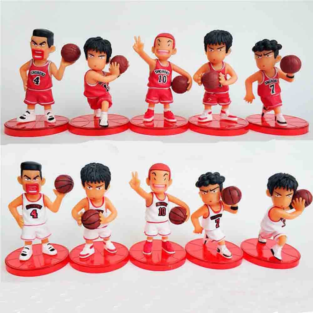5pcs/lot Slam Dunk Shohoku Basketball Player Anime Figure Doll Hanamichi Sakuragi Rukawa Kaede Model Toy For Kids image