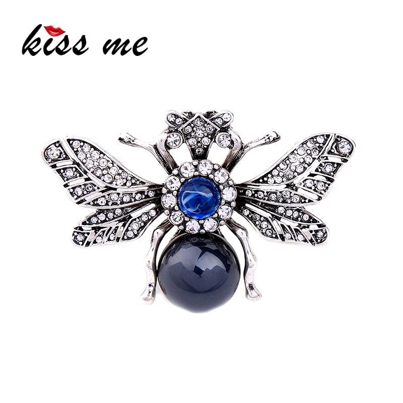 Custom Cameo Resin Pins Diy: KISS ME Personalized Resin Rhinestone Bee Brooch Alloy