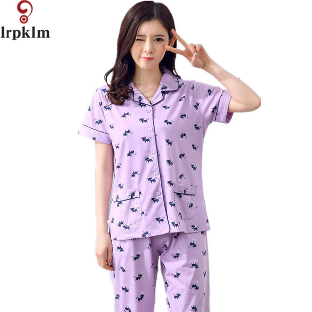 dd508142fa81 Cute Women Pajama Sets Summer 2017 Pajamas Pants 2 Pcs Print Plus Size  M-3XL Ladies Sleep Lounge Woman Home Suit SY184