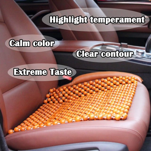 Natural Wood Beaded Car Seat Cushion Cover Massages Van Super Comfy Summer For Home Office