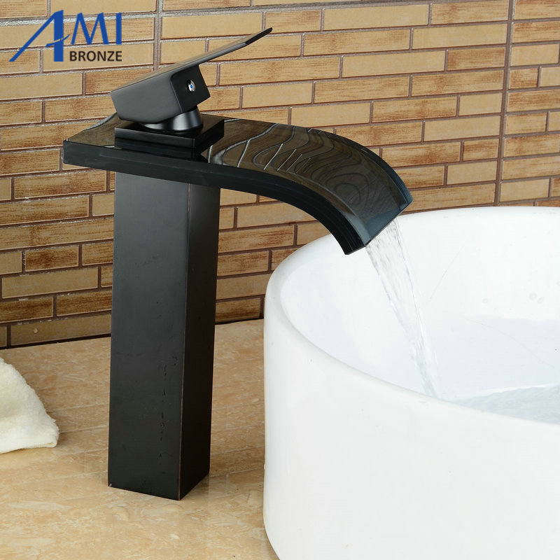 Newly Blackened Bathroom Faucet Basin Faucet Mixer Tap Faucets Waterfall Glass Hot Cold Mixer Crane цена