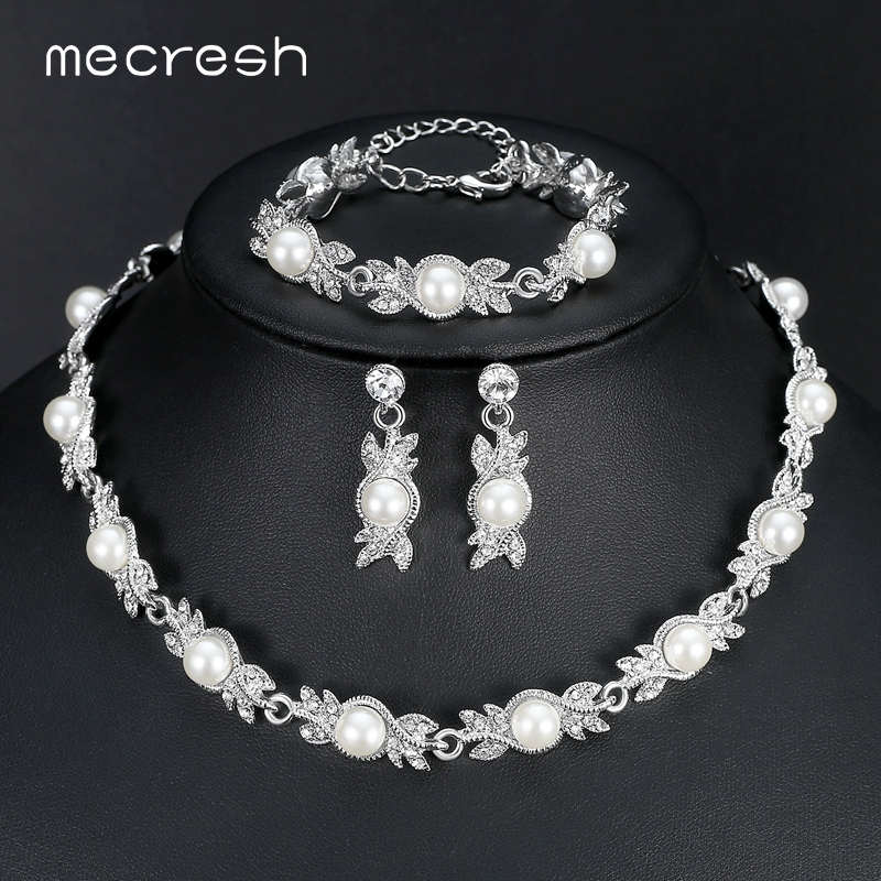 Mecresh Simulasi Mutiara Perhiasan Pengantin Set Perak Warna Kristal Kalung Wedding Earrings Set Barang Kemas MTL444 + MSL197