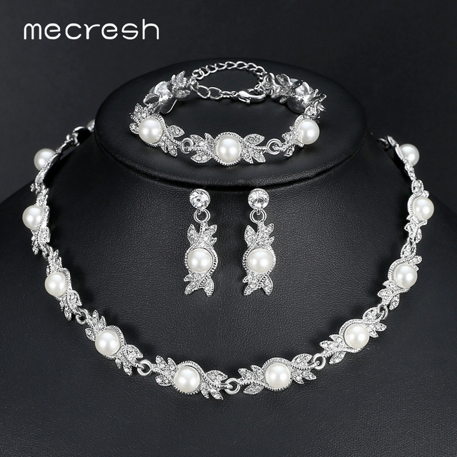 Mecresh Simulated Pearl Bridal Jewelry Sets Silver Color Wedding Necklace Earrings Bracelets Party Mtl444