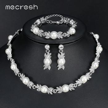 Mecresh symulowana perłowa biżuteria dla panny młodej zestawy kolor kryształu naszyjnik kolczyki ślubne bransoletki komplety biżuterii MTL444 + MSL197 tanie i dobre opinie Ze stopu cynku Kobiety Pearl Symulowane perłowej TRENDY 3 Pcs Sets(1pcs Necklace + 1 pair Earrings + 1pcs Bracelets) Zestawy biżuterii dla nowożeńców