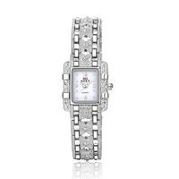 Top Quality Womens Rhinestone Silver Stainless Steel Quartz Wristwatch Elegant Fashion Square Bracelet Watches Dress Watch