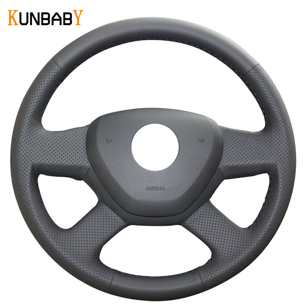 KUNBABY Genuine leather Color Black Red Car Steering Wheel Cover for 2014 Skoda Octavia 2013 Skoda Fabia