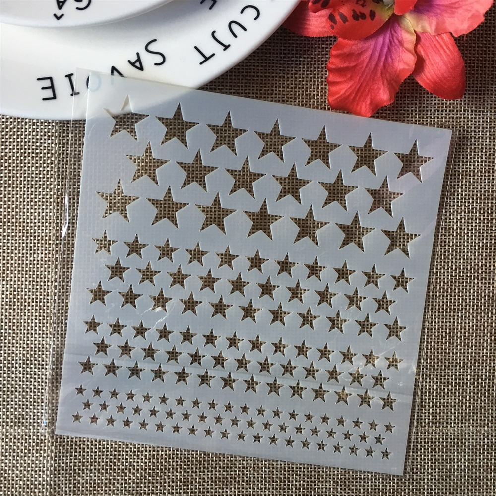 """5"""" Stars Texture DIY Layering Stencils Wall Painting Scrapbook Coloring Embossing Album Decorative Paper Card Template"""