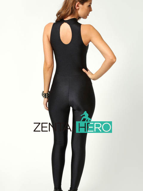 0b1cfe4bad40 ZentaiHero 2017 Sexy Black Celebrity Woman High Neck Sleeveless Disco Dance  Unitard Leotard Playsuit Catsuit Jumpsuit